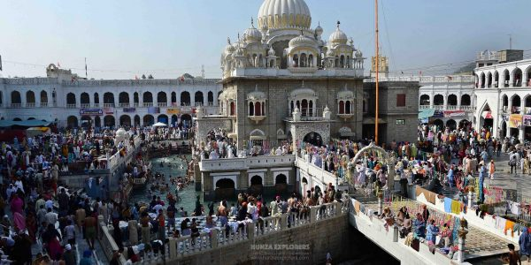 Sikh pilgrims gather at the Gurdwara Panja Sahib, one of Sikhism's most holy places, during the Vaisakhi festival in Hasan Abdal, about 48 kms from Rawalpindi.  Vaisakhi - also known as Baisakhi - celebrates the founding of the Sikh community known as the Khalsa.